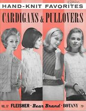 Vintage hand knit favorites cardigans & pullovers pattern book c.1967 ladies men