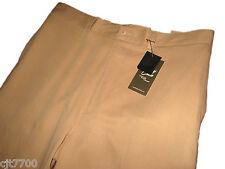 NWT Mens Silk Cotton Tan Khaki Pants Flat Front Business Casual Dress 32 x 32