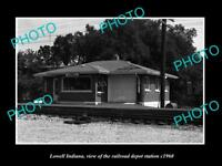 OLD LARGE HISTORIC PHOTO OF LOWELL INDIANA, THE RAILROAD DEPOT STATION c1960