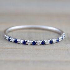 Simple White Topaz & Blue Sapphire Silver Ring Women Wedding Bridal Jewelry 6-10