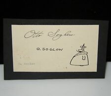 OTTO SOGLOW THE LITTLE KING SIGNED CARD WITH DRAWING COMICS ORIGINAL ART 1930`s