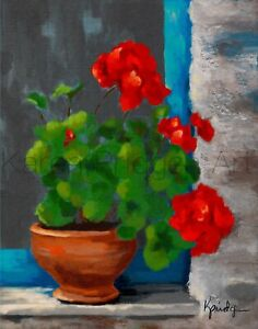 ACEO ATC Art Card Painting Print Signed Floral Flowers Flower Geraniums