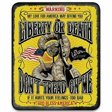 Don't Tread of Me Liberty or Death Gadsden Flag Tea Party Raschel Blanket Throw