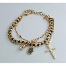 Bracciale Rosario 3 Fili Color Oro Grani Neri con Strass Croce Medaglietta