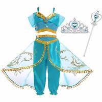 Animation Movie Princess Jasmine Aladdin Kids Cosplay Party Girls Costume Dress