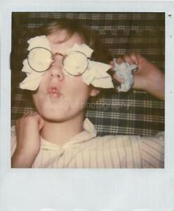 Vintage POLAROID Found Photograph PAPER BOY Original COLOR 17 44 Y