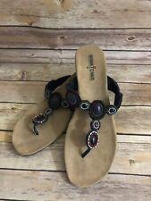 Minnetonka T-Strap Thong Sandals Size 10 Womens Black Western wedge Heel Shoes