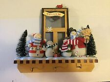 Snowman family hanging key holder hook