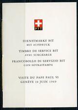 SWITZERLAND   POPE PAUL VI  SHEET MINT NH  PUBLICITY SHEET & FOLDER  AS ISSUED
