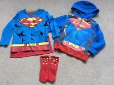 Prochain Garçons Superman super héros Bundle Sweat à capuche et top avec cape 2-3 ans