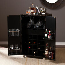 CWB14901 BLACK CONTEMPORARY WINE BAR CABINET WITH FAUXED MARBLE TOP