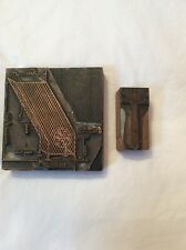 Antique Architect Wood And Metal Stamping Blocks Set Of 2