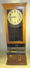 Antique Interboro Time Clock Co NY USA Large Oak Cabinet Punch Electric