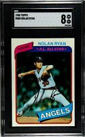 ⚾1980 Topps #580 Nolan Ryan HOF🏆California Angels SGC 8 NM-MINT💎