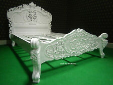 "WHITE 4'6"" Double size french style mahogany designer Rococo bed WITH Mattress"