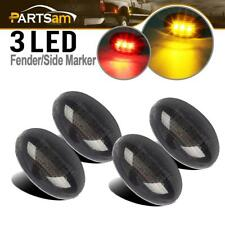 For Ford F-Series 4pc LED Fender Bed Side Marker Lights Smoked Lens (Amber Red)