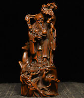 Chinese Buddhism Boxwood Wood Carved Longevity God Shou Star Deer Crane Statue