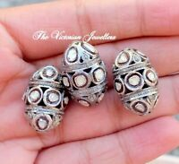 Real Rose Cut Polki Diamond 1 PC Beads Victorian Vintage 925 Sterling Silver