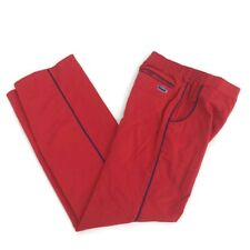 Vintage 1980s Izod Lacoste Boy's Red Casual Pants Navy Blue Piping Size 12