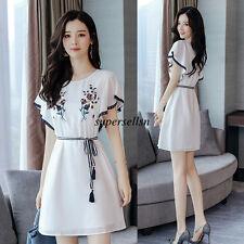 Korean Fashion Women Lady Party Summer Chiffon Slim Tunic A Line Short Dress New