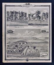 1875 Iowa Atlas Farm Views McMillan Stock Farms Victorian Houses Horse Carriages