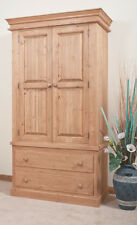 SOLID PINE DOUBLE WARDROBE  | HANDMADE | WAXED OR   BARE WOOD IDEAL TO PAINT