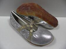 Chaussures ELANTINE flip gris argent FEMME taille 37 ballerines fille cuir NEUF