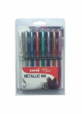 Uni Ball Signo UM-153 Broad Metallic Rollerball Pen - Assorted Colour, Pack of 8