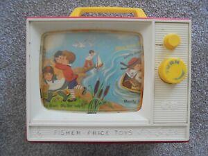Vintage 1964 Fisher-Price Giant Screen Music Box TV London Bridge/Row your Boat
