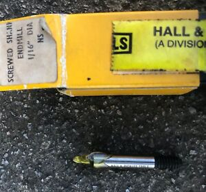 """Hall & Pickles 1/16"""" Imperial NS Endmill - HSS.  Screwed shank, Brand New"""