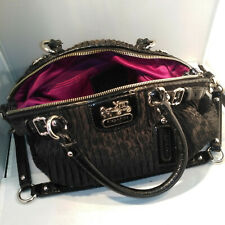 Coach HandBag, Madison Gathered Black Sateen Signature purse - J1182-18885