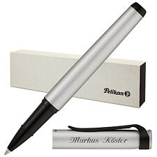 Pelikan Tintenroller Stola III Silber mit Laser-Gravur matt Beschläge schwarz