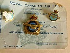 Vintage RCAF Royal Canadian Air Force membership card Pin and cuff links rare