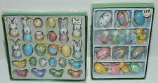 NIP 38 Pc lot Easter Tree Decorations Ornaments Wooden Eggs Bunny Chicks