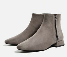 Zara Flat Grey Ankle Boots With Zip New 4 37 BNWT