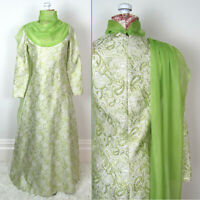 Vtg 60s 70s METALLIC BROCADE SPARKLY DRESS Green Scarf STAR TREK STYLE Costume