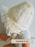 A7 Vintage Bonnet Baby Lace Ruffled Large Dolls Clothes Babies Frilly