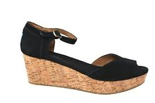 Toms Black Suede Platform Cork Wedge Sandal Womens Size 10