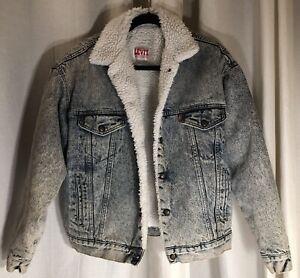 Vtg 80s Medium Levis Sherpa Fleece Lined Acid Wash Denim Jean  Jacket Retro