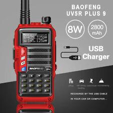 UV5R Plus 9 Walkie Talkie 8W Tri Band LED LCD 128CH Handfunkgerät Radio DE