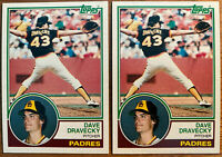 1983 Topps #384- Dave Dravecky - ROOKIE RC LOT OF 2 - PADRES - 1983 ALL-STAR!