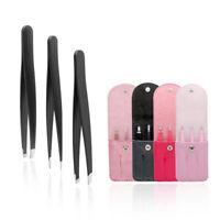 3 PCS /Set Eyebrow Tweezer Stainless Hair Removal Makeup Tools With Bag caseDS