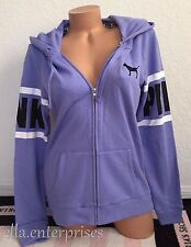 Victoria's Secret Pink Violet Purple Black White Perfect Zip Up Hoodie Jacket -S