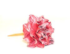 """Statement wooden hair stick pin, PEARLY PINK ROSE leather flower hair fork 7"""""""