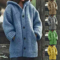 Women Winter Warm Hooded Knit Sweater Cardigan Coat Long Sleeve Outwear Jacket