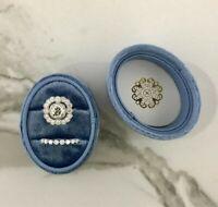 Oval Velvet Ring Box - Double Slots HandmadeKeepsake Vintage engagement Ring