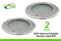 2 x Stainless Steel Inground Garden Up Lights for Illuminating Trees 240V GX53
