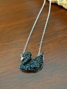 Swarovski Sterling Silver Necklace with Black Swan Pendant