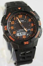 Casio AQ-S800W-1B2 SOLAR POWER Watch Orange Black 5 Alarms 100M WR World Time