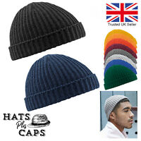 Trawler Beanie Knitted Fishermans Hat Retro Beechfield Vintage Style Ski Wooly